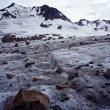 Valley glacier. Many glaciers within the eastern Chugach Mountains are in a state of equilibrium or retreat. Some are steadily advancing and others are subject to periodic surges. Wrangell St. Elias National Park.
