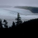 Rain clouds sweep across the Mendenhall Glacier. Tongass National Forest.