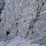 Limestone folds. The folding and crumbling of hard and normally brittle rock is a measure of the immensity of techtonic forces within the earth. When deeply buried and confined by high pressure over a long time, rock responds by internal changes to its component mineral grains and plastic deformation rather than brittle fracture. Un-named tributary of the Itkillik River. Gates of the Arctic National Park.