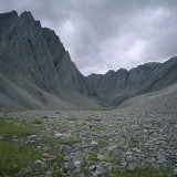 Vertical standing limestone folds. Un-named tributary of the Itkillik River, Endicott Mountains.