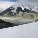 Frederika Mountain and Frederika Glacier with a clear high ice mark termed the 'trimline' along the eastern perimeter, (August 2011). Wrangell St. Elias National Park.